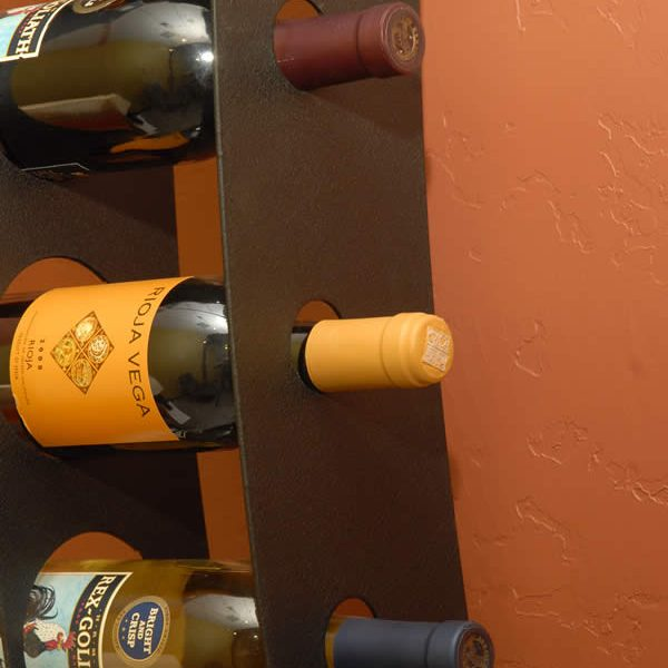 Close-up view of Wall Mounted Wine Rack