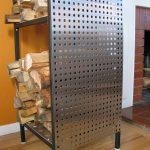 Perforated Metal Panel Firewood Storage Rack