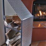 Brushed Aluminum Finish Firewood Storage Rack