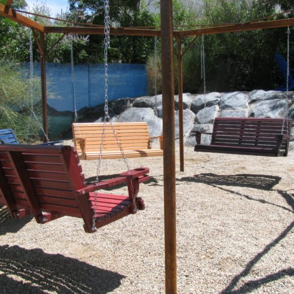 steel outdoor patio swing hexagon seating