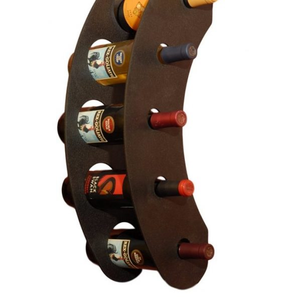industrial wall mounted wine rack with five bottle holders