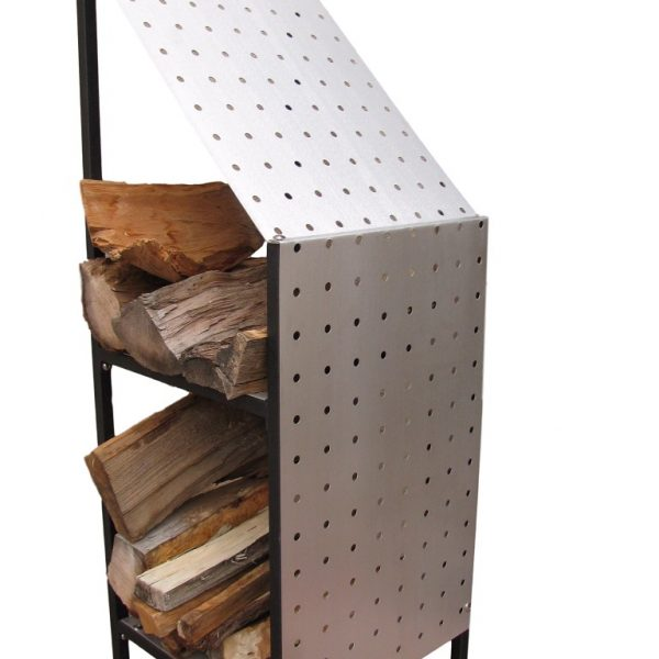 funky firewood storage rack with matte brushed finish