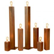 eight, twenty and forty inch tall lamps table lamp floor lamp rusty finish edison bulb