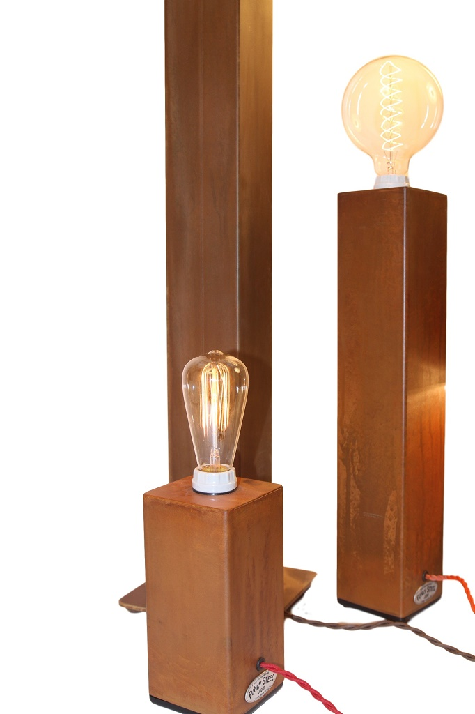 Small And Medium Touch Lamp Table Lamps With Rust Finish And Edison Or Globe  Bulb