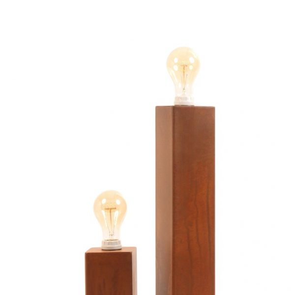 small and medium natural rusty lamps with orange and red fabric cords